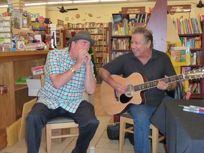 "Photo by Roni Depue Morgan Hill Life Advertising Director Mark ""Fenny"" Fenichel and Greg Kihn at Kihn's signing of his new book at BookSmart Oct. 15."