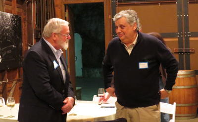 Photo by Marty Cheek George Chiala, right, with last year's Leadership Excellence Award winner Mike Cox, at Guglielmo Winery Jan. 28. Chiala will receive the award at a gala dinner sometime this summer.