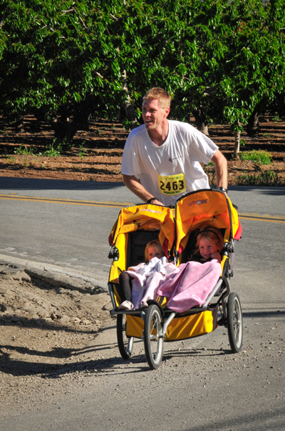 Photo courtesy Susan Brazelton  Travis Finucane came in first place in the 5K stroller/baby jogger category with a time of 20:27 in last year's Wildflower Run.