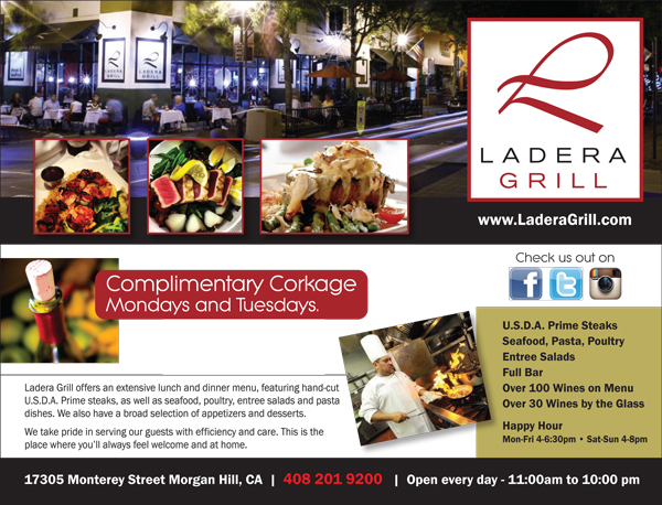 Ladera Grill ad featured in May 14, 2014 issue of Morgan Hill Life