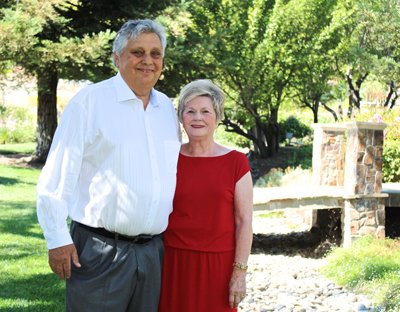George and Alice Chiala take in a quiet moment prior to the Leadership Morgan Hill LEAD award gala held July 12 in his honor. Photo by Liza Garibaldi