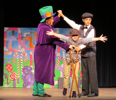 "The cast of ""Willy Wonka"" on stage during their July 11 performance. The show was directed by Morgan Hill resident Carol Romo who runs a company that teaches theater arts to children."