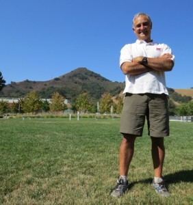 Above: Stu Nuttall on the lawn at City Hall with El Toro Mountain in the background. Left: The El Toro Trail Access Strategy proposed by staff. Photo by Marty Cheek and courtesy city of Morgan Hill