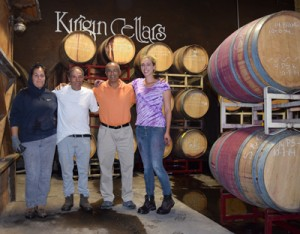 From left, Hilda Fargozo, viticulture and cellar manager Gabino Romero, vineyard, winery and warehouse operations, Dhruv Khanna, owner and Amanda Krueger, assistant winemaker at Kirigin Cellars. Photo by Robert Airoldi