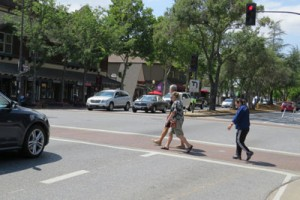 Photo by Marty Cheek Pedestrians cross the intersection at Second Street in downtown Morgan Hill recently.