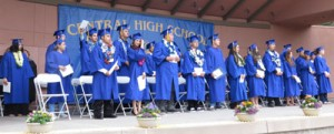 The 38 graduates from Central High in 2015 line the stage at the Downtown Amphitheater June 3, 2015. Morgan Hill Life file photo