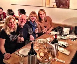 Lori McIntosh (celebrating her birthday), Bill Corneth, Cindy Groce Adams and Jane Lawrence Silvetti, at a restaurant in Vienna on their recent trip.