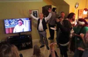 "Photo by Marty Cheek Steve Caposio celebrates with friends watching him on ""Cutthroat Kitchen."""