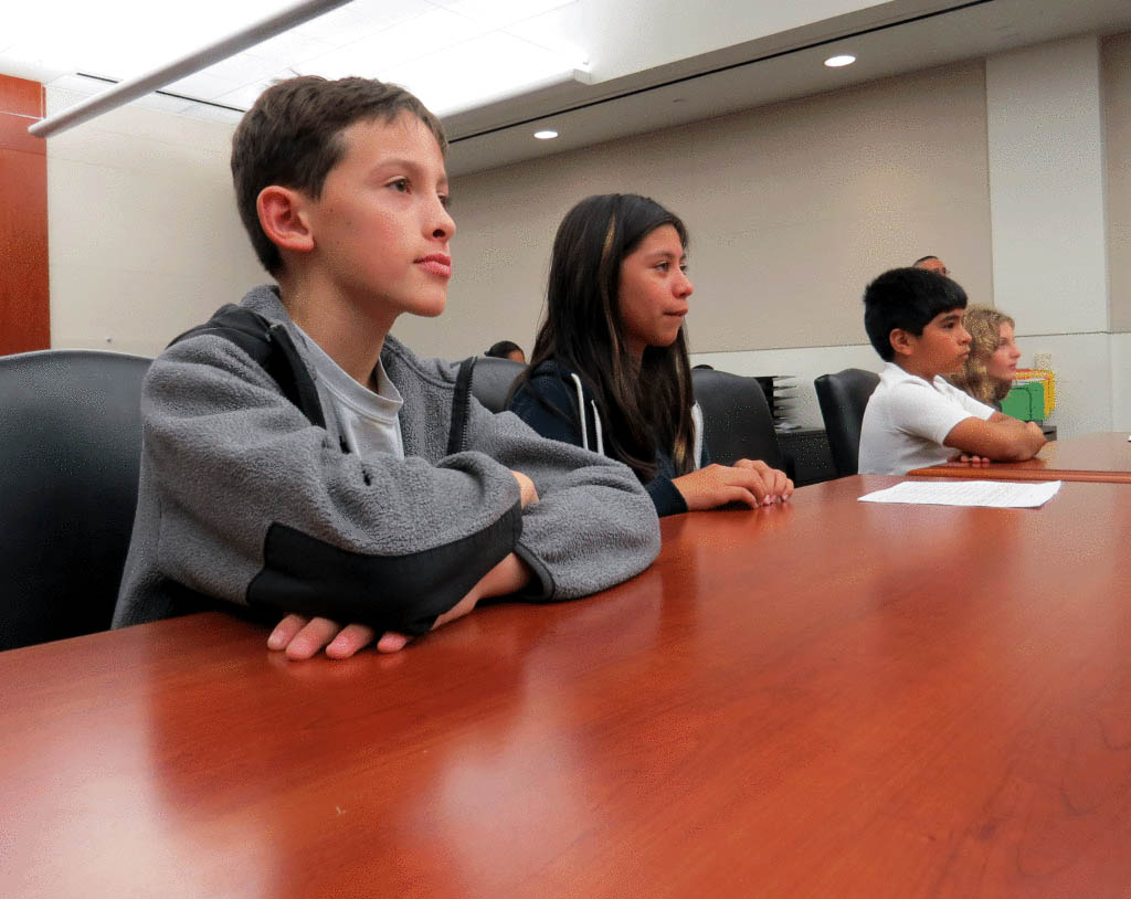 Photo by Marty Cheek  San Martin Gwinn Environmental Science Academy fifth graders learned about the judicial process on a visit to the South County Courthouse.