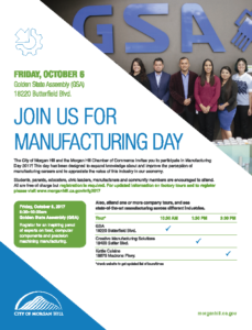 Manufacturing Day in Morgan Hill @ Golden State Assembly | Morgan Hill | California | United States