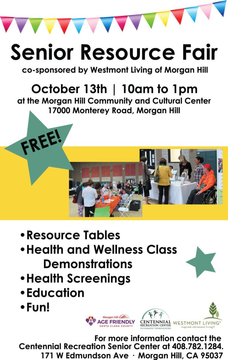 Senior Resources Fair - October 13 at Morgan Hill ...