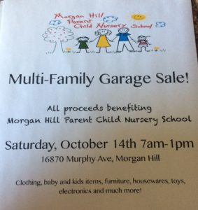 Multi Family Garage Sale Fundraiser @ Morgan Hill Parent Child Nursery School | Morgan Hill | California | United States
