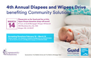 Diapees & Wipees Drive Benefiting Community Solutions - Donation Drop-Off Event @ Guild Mortgage Morgan Hill | Morgan Hill | California | United States