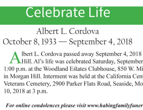 Celebrate Life – Albert L. Cordova – October 8, 1933 — September 4, 2018