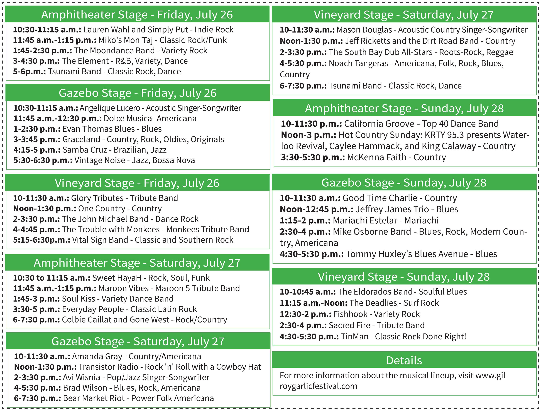 ENTERTAINMENT: Gilroy Garlic Festival musical lineup will entertain