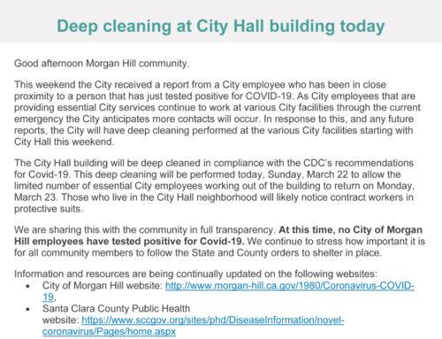 Breaking news from city of Morgan Hill: Coronavirus update March 23, 2020