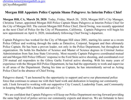 Breaking News: Shane Palsgrove will fill in roll as Morgan Hill interim police chief