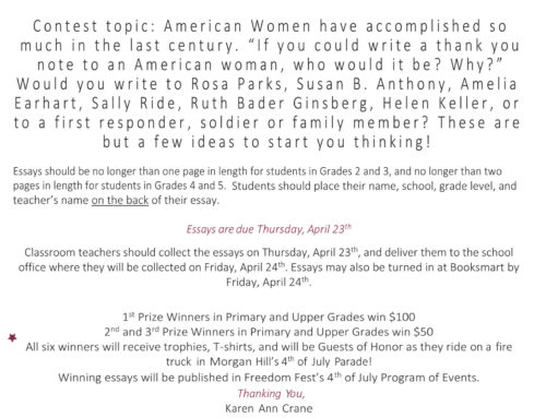 Morgan Hill Freedom Fest Essay Contest for Kids: Due Date April 23